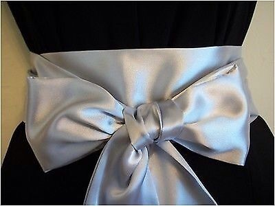 "3.5""x85"" SILVER GREY SATIN SASH BELT SELF TIE BOW FOR WEDDING PROM PARTY DRESS"