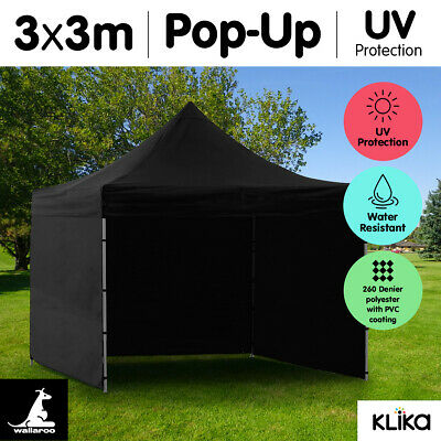 BLACK 3x3 WALLAROO POP UP OUTDOOR GAZEBO FOLDING TENT PARTY MARQUEE SHADE CANOPY