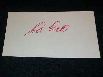 New York Jets Ed Bell Signed Auto 3x5 Vintage Index Card TOUGH