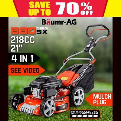"NEW Self Propelled 21"" Lawn Mower 218cc Lawnmower 4 Stroke Mulch Catch Baumr-AG"