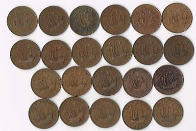 Collection Of 17 Great Britain Half Penny Ship Coins - Blowout Price