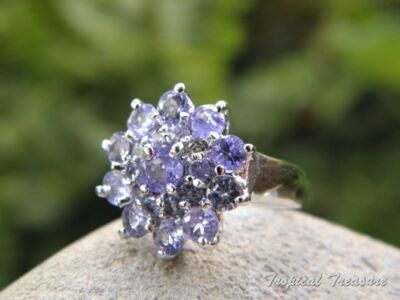 Tanzanite & 925 SOLID Silver RING (Size 5, J 1/2)    #282144