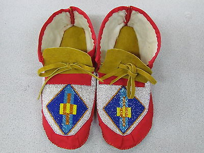 Native American Full Bead Moose Hide Moccasins,blue Triangle Vamp 11 Inches Long