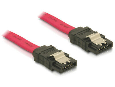 Delock data SATA cable 50cm straight / straight metal clips SATA II 3 Gbps red