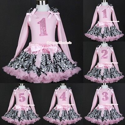 Light Pink Damask Pettiskirt Dress Sparkle Birthday Number Age Pink Top 1-5Year