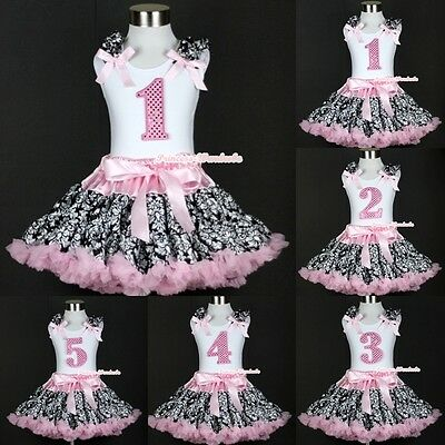 Light Pink Damask Pettiskirt Dress Sparkle Birthday Number Age White Top 1-5Year