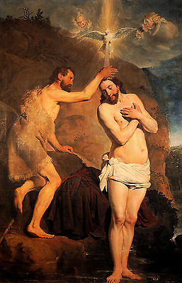 Baptism of Christ by Grebber, Life of JESUS CHRIST  in Art on Canvas