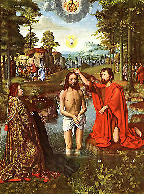 Baptism of Christ by David - Life of JESUS in  Art on Canvas