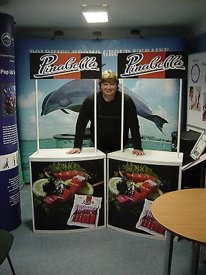 Trade Show Promotional Counter Table Kiosk DIsplay with Header + FREE GRAPHICS