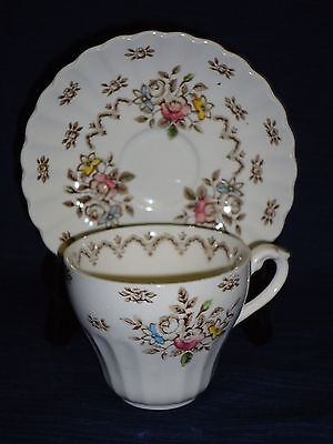 J & G MEAKIN china TEA CUP & SAUCER Classic White Chatsworth ENGLAND