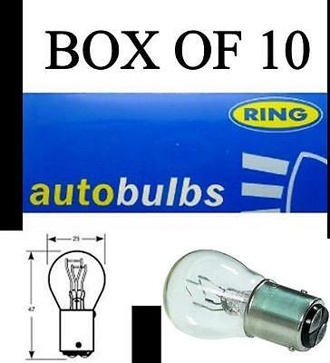 10 x RING R380 STOP & TAIL BULB 12V 21W/5W E MARKED 380 BULBS BOX OF 10
