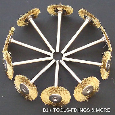 10 Brass Wire Wheel Brushes Compatible With Dremel Rotary Hobby Multi Tool