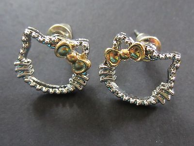 NEW Cute Silver Hello Kitty Outline Stud Earrings with Gold Bows