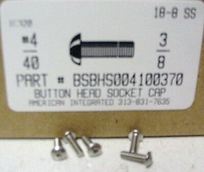 #4-40x3/8 Button Head Hex Socket Cap Screws Stainless Steel (60)