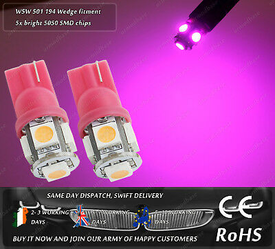 2x T10 LED W5W 501 Capless Pink Wedge Side Lights Parking Bulbs Number Girls Car