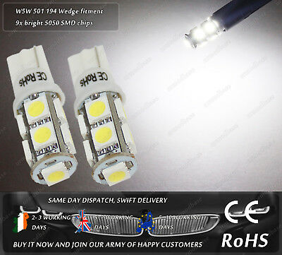 W5W T10 Wedge 501 LED SMD Xenon White Front Side Lights Parking Bulbs Sidelights