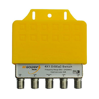 GOLDEN MEDIA  4 x 1 way Satellite  DiSEqC Switch