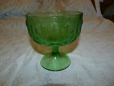 Vintage Heavy Green Glass Leaf Pattern Compote or Footed Pedestal Dish