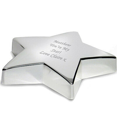 Personalised Silver Finish Star Paperweight-Free Laser Engraving- Office & Home!