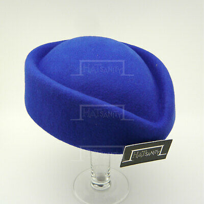 VINTAGE Wool Felt Pillbox Hat Women Fascinator | Blue Black Brown Purple Green