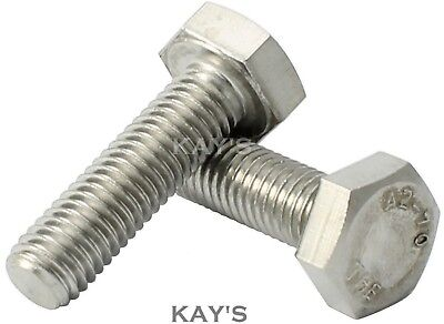 M10/10mmØ A2 STAINLESS STEEL HEXAGON HEAD SET SCREWS FULLY THREADED METRIC BOLTS