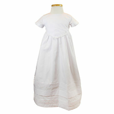 NEW Classic Baby Girls Christening Baptism Satin Gown Cotton size 0000-1 WHITE