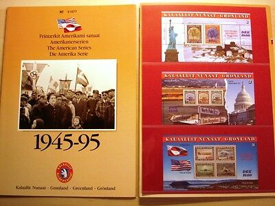 Greenland Official Folder The American Series 3x MNH Minisheets 1995 - EXCELLENT