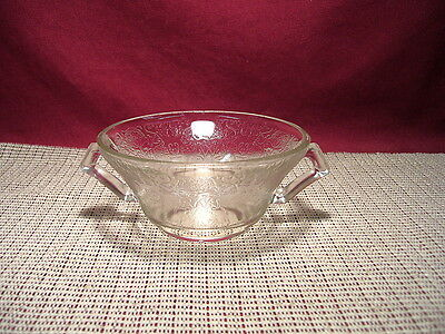 Vintage Hazel Atlas Depression Glass Florentine #2 Clear Cream Soup Bowl
