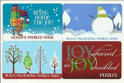 Peebles Bealls Goodys Stage Lot 4 Gift Cards No $ Value Collectible incl Holiday