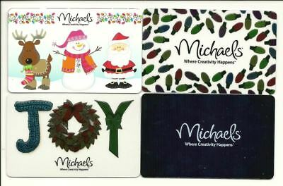 Michaels Lot of (4) Gift Cards No $ Value Collectible Incl Christmas Holiday