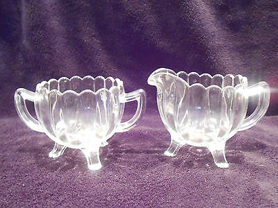 IMPERIAL CRYSTAL GLASS CREAMER SUGAR TRI LEG MARKED W IMPERIAL CROSS BARS...OLD