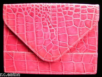 Rebecca Moss New York - Leather Photo Envelope - Pink Crocodile Pattern