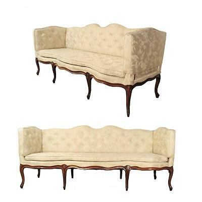 Antique 1900s Camel Hump Back Scalloped Carved French 8 Leg Walnut Sofa Couch