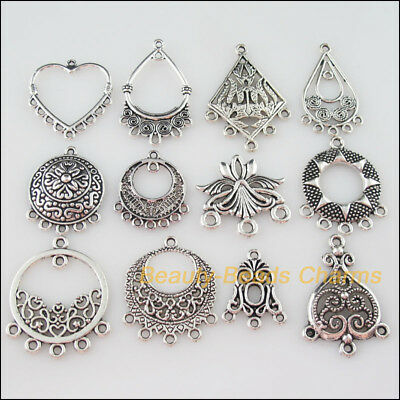 24Pcs Mixed Tibetan Silver Charms Pendants Connectors For Jewelry Craft DIY F112