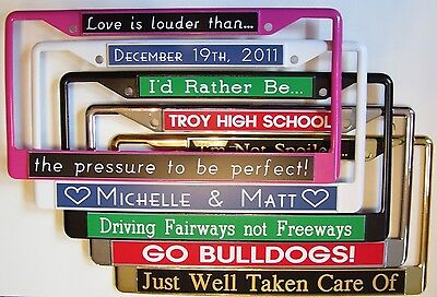 Custom Personalized License Plate Frame Metal Cover Gold Silver Pink Black White