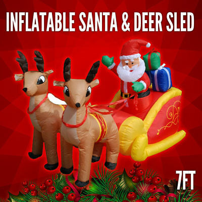 Inflatable Santa Sleigh Reindeer 7FT Xmas Decoration Deer Christmas