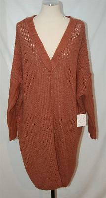"COZY NWT! $148 ""FREE PEOPLE"" WOOL V-Neck Slouchy Crochet SWEATER in Rose Blush"