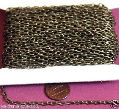 45 ft Spool Antiqued Brass textured cable chain 3x5mm