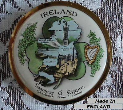 IRELAND compact Made in England Shamrock vintage