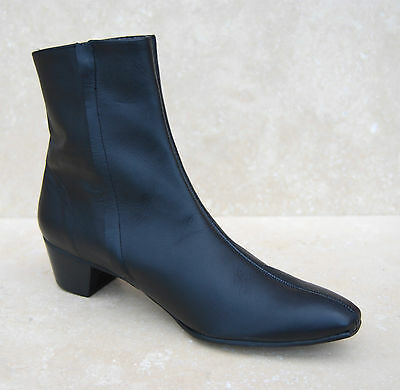 Mens Retro Black Leather Lennon Chelsea Beat Beatle Zip Boots with Cuban Heel