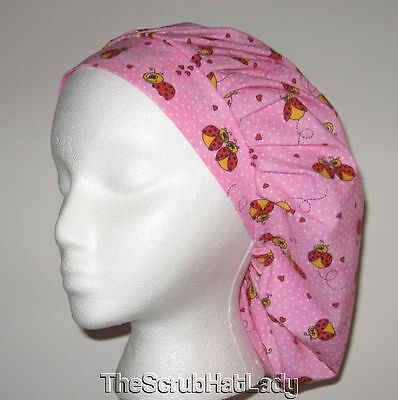 Ladybugs on pink polka dot Surgical Scrub Hat bouffant cap F279 R