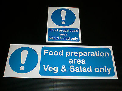 FOOD PREPARATION AREA VEG & SALAD ONLY Sign Sticker Or Plastic Size Choice Cafe