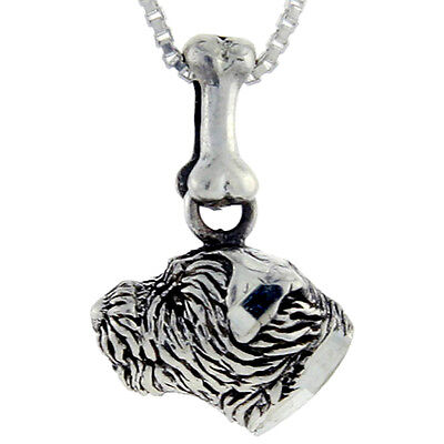 """Sterling Silver Border Terrier Dog 3D Solid Pendant//Charm 18/"""" Italian Box Chain"""