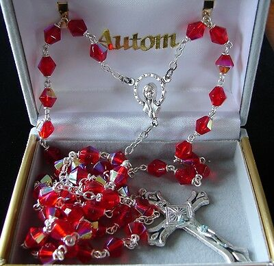 Metallic Toned Red Crystal Rosary Madonna Centerpiece Italy