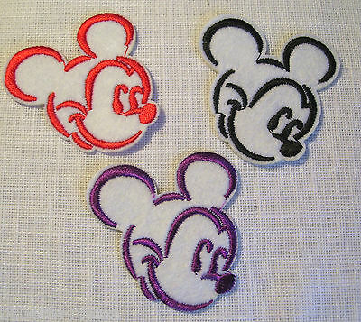 ÉCUSSON PATCH BRODÉ thermocollant - TÊTE SOURIS MICKEY - 5 X 5 cm