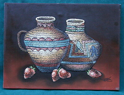 Mario Jung Oil On Canvus Pebbles Jars & Strawberry Painting MAGNIFICENT