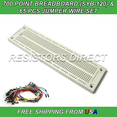 700 Point Breadboard SYB-120 & 65pcs Jumper Wire Solderless PCB Prototyping NEW
