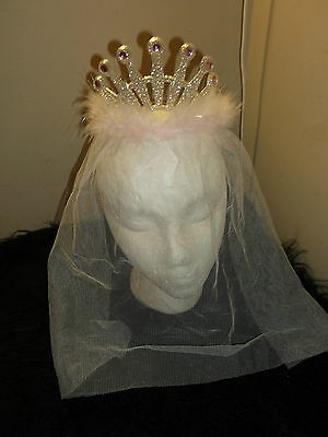 new fuzzy silver pink veiled princess tiara comb hair care crown little Diva
