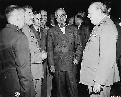 Stalin, Harry Truman And Churchill At Potsdam Conference - 8X10 Photo (Ep-600)