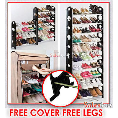 2016 Model 30 Pairs With Legs+Cover 10 Tiers Stackable Storage Shoe Rack Holder